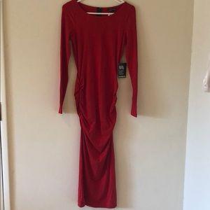 Express red stretch midi dress